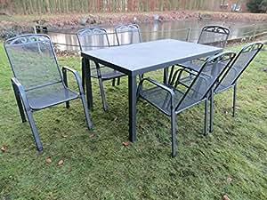 """'7Juego de lujo metal aluminio Spray Stone Muebles de Jardín Grupo """"Mfg Dacore # N en antracita"""