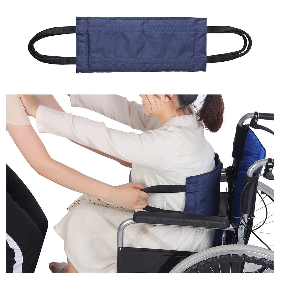 Transfer Sling Patient Lift Board Belt Transferring Turning Handicap Bariatric Patient Medical Sliding Belt for Wheelchair, Car, Bed, Chair (Blue)