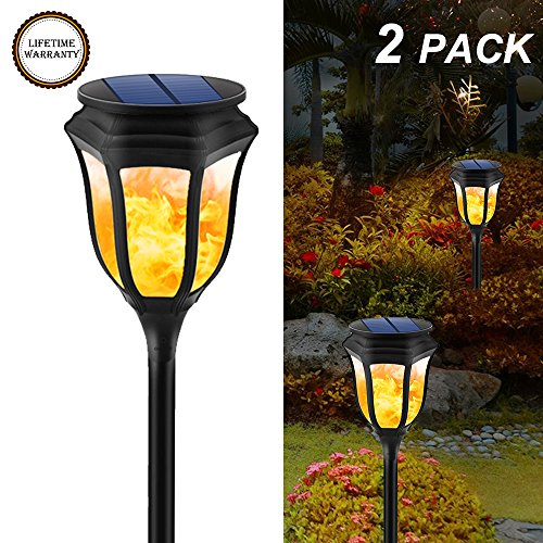 yiiyaa Flames Solar Lights solar torches Dancing Flame Waterproof Wireless 96 LED Flickering Lighting Landscape Security Path Lamp for Garden Patio Deck Yard Driveway (2 Pack) (Outdoor Tropical Lighting)