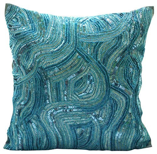 Blue Accent Pillows, Sequins and Beaded Abstract Glitter Sparkly Pillows Cover, 14