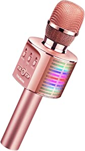 TECBOSS Microphone for Kids, Wireless Bluetooth Karaoke Microphone with LED Lights, The Best Gifts Toys for 4+ Year Old Girls Boys Adults All Age