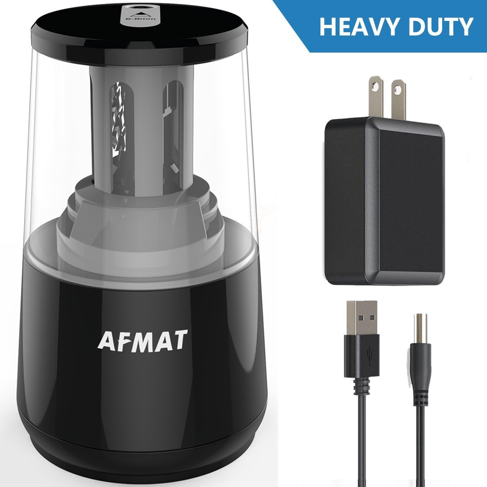 AFMAT Electric Pencil Sharpener, Heavy Duty Helical Blade Sharpeners, Auto Stop for Kids, School Home Office Classroom, AC or Battery Operated for NO. 2 and Colored Pencils (USB and Adapter Included)