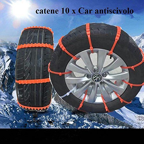 Qiilu 10pcs Reusable Auto Car Universal Fit Snow Safety Anti-Skid Tire Tyer Chains Thickened Tendons of Resisting Low Temperature for Universal Vehicle//Car//SUV