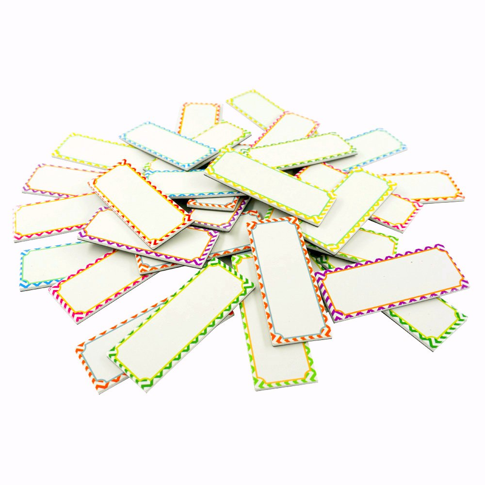 Magnetic dry erase Labels Name Plates white board 32 Labels 8 Colors,3.2'' x1.2''