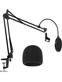 InnoGear Heavy Duty Microphone Stand with Mic Microphone Windscreen and Dual Layered Mic Pop Filter Suspension Boom...