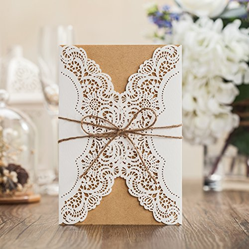 Wishmade 50X Laser Cut Invitations Cards Kit With Rustic Rope For Wedding Party Birthday Occasion PK14113 (Wedding Kit Invite)