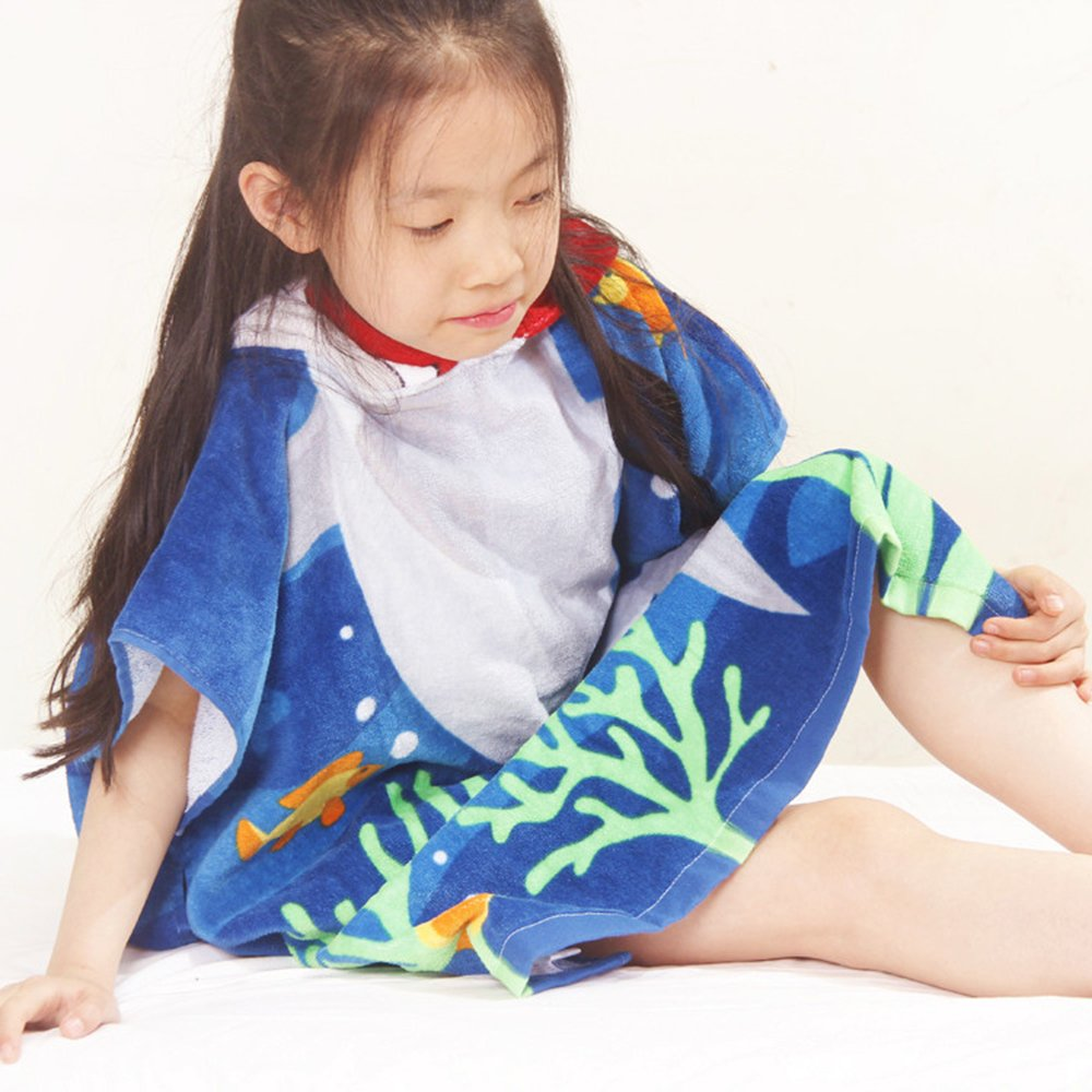 Reinefleur Poncho Serviette de Bain avec Capuche 60cm Coton Enfant Absorbante Serviettes Sorties de Bain