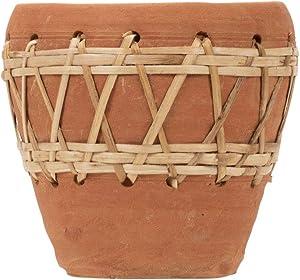 Foreside Home & Garden Natural Terracotta and Woven Rattan Planter