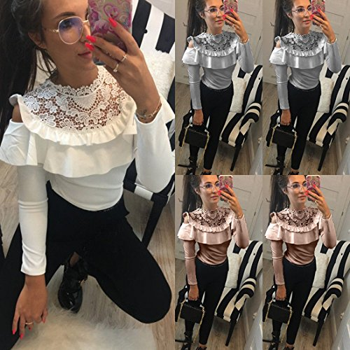 Col Volants Femme Cuir JackenLOVE Rose Sexy Pull Longues Bustier Rond Manches Haut pissure Slim Shirt T Blouse Dentelle Tops Chemisier qwxwU5YI