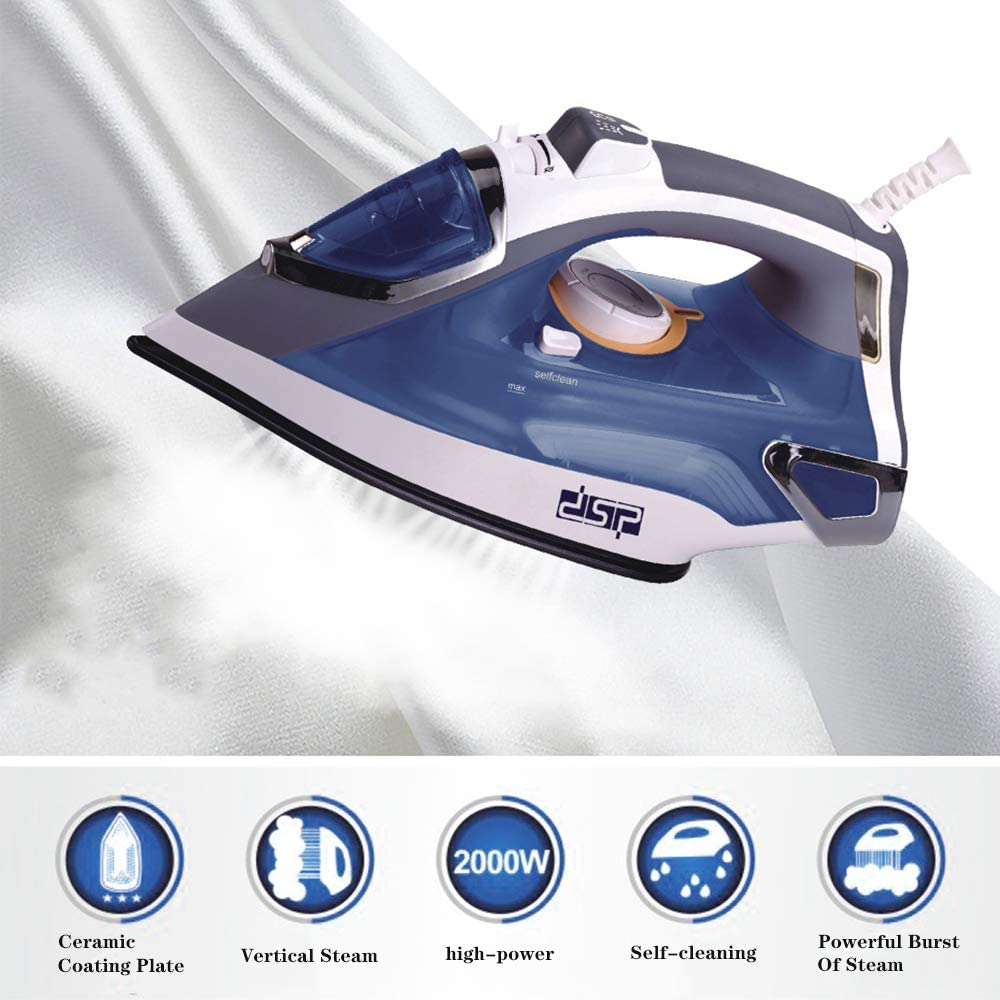 2000W Power Electric Steam Iron Adjustable Temperature Self Clean High Pressure Boost Steam Non-Stick Ceramic Soleplate Dry Ironing Steam Ironing 1violet (420ml)