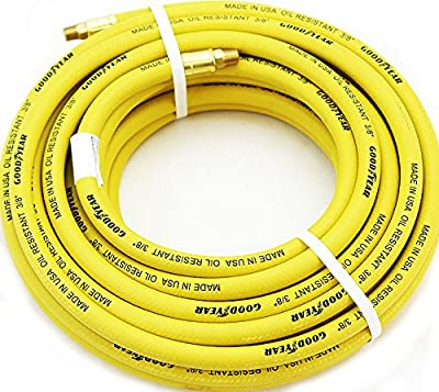 9TRADING Yellow 3/8 Inch 50 FT GoodYear/Continental Rubber Air Hose Tool Compressor Oil, grease & solvents Resistant made in USA,Free Tax, Shipped within 10 days