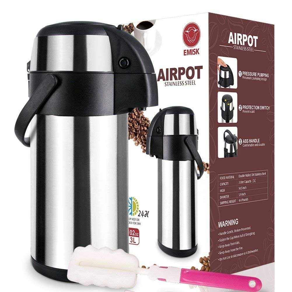 Thermal Airpot Beverage Dispenser 3L, Commercial Airpot Pourpot Beverage Dispenser, Suitable for both Hot and Cold Drinks, Pump Dispenser, Thermal Coffee Airpot, Thermal Coffee Dispenser + Brush Bonus EMISK