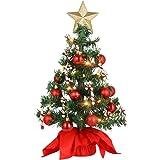 PRETYZOOM Artificial Christmas Trees, Desktop Christmas Trees with LED String Light Xmas Tree Baubles 50cm