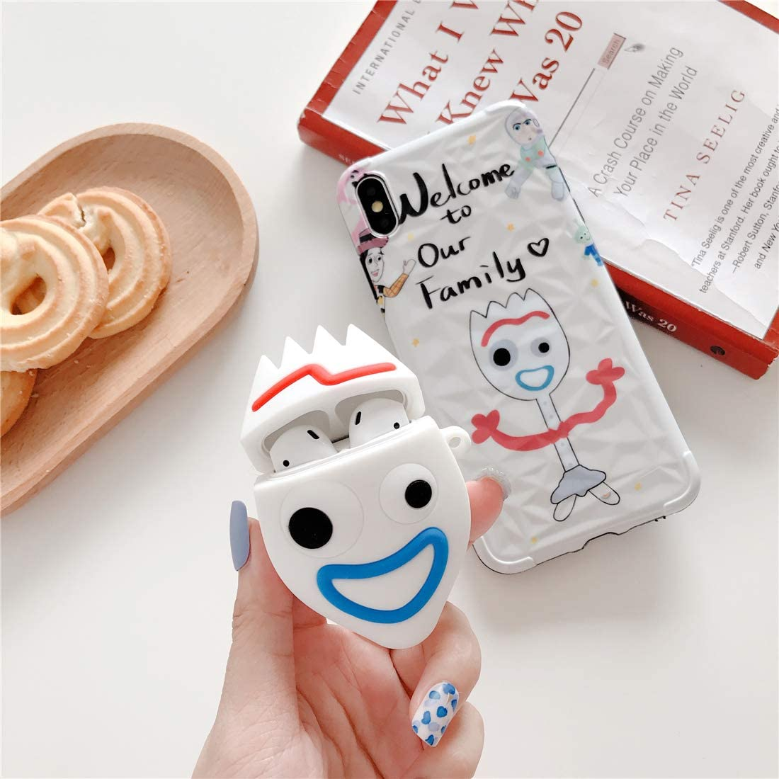 Accessories Carabiner Protective Fun Fashion Character Skin Soft Silicone Cover for Air pods 2//1 Cute Funny Cool Pattern Design for Girls Boys Kids Gift-Hero Happy Fork Cartoon Case for Airpods