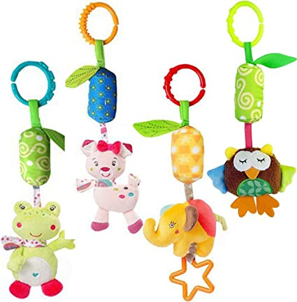 Infant Stroller Car Seat Bed Toys,Newborn Activity Development Toy MKONY Baby Crib Hanging Toys Babies Unique Travel Hanging Rattle Plush Toys 4 Pack