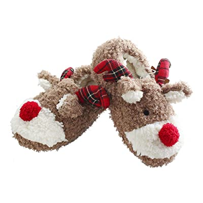 Amazon.com | ANNALEMON Christmas Slippers for Women Fuzzy Reindeer House Shoes with Memory Foam | Slippers