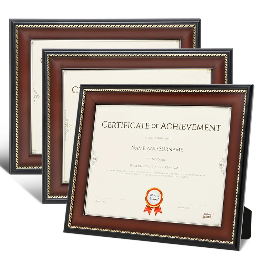 Memory Island Document Diploma Frames 8.5x11, Set of 3 Pack, Brown Certificate Frames with Gold Border, Curved Bevel Design. Vertical or Horizontal Display for Wall or Tabletop.Clear Glass Front.