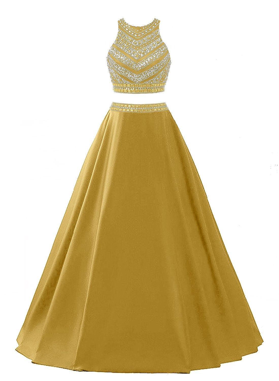 Amazon Com Dressytailor Two Piece Long Satin Beaded Prom Dresses