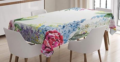 Imagen deABAKUHAUS Flor Mantele, Lila del Resorte Lavenders, Resiste Las Manchas Fáciles de Limpiar Lavable Estampa Durable, 140 x 240 cm, Multicolor
