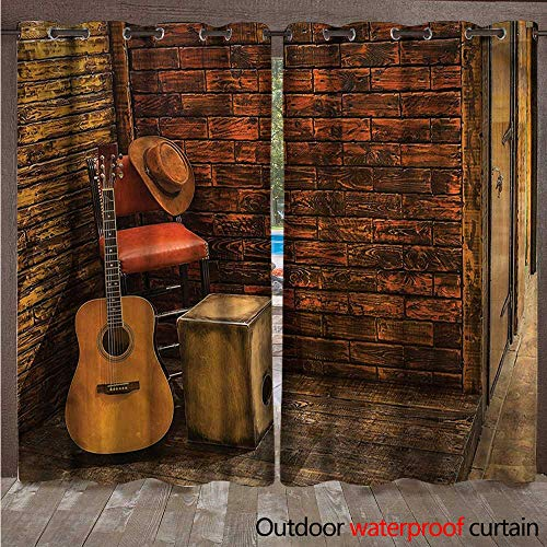cobeDecor Music Home Patio Outdoor Curtain Wooden Stage Pub Cafe W72 x L84(183cm x ()