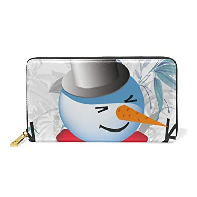 afd30928f90d Snowman With Scarf Genuine Leather Wallet Case Credit Card Holder ...