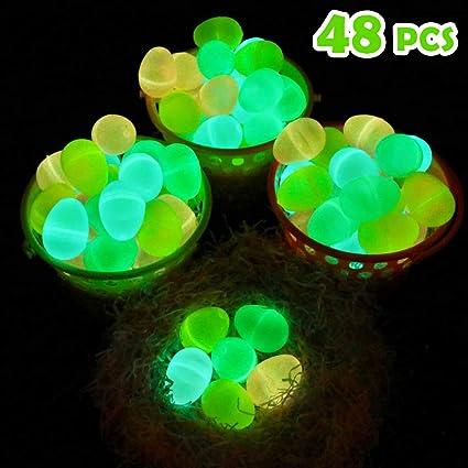 Moyeenee 48 Pcs Glow In The Dark Easter Eggs To Filling Specific Treats Easter Glow Theme Party Favor Easter Eggs Hunt Basket Stuffers Filler