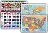 World Map, USA Map, Flags of World, Flags of US States Placemat for Kids - Set of 4 Laminated Children's Learning Mats