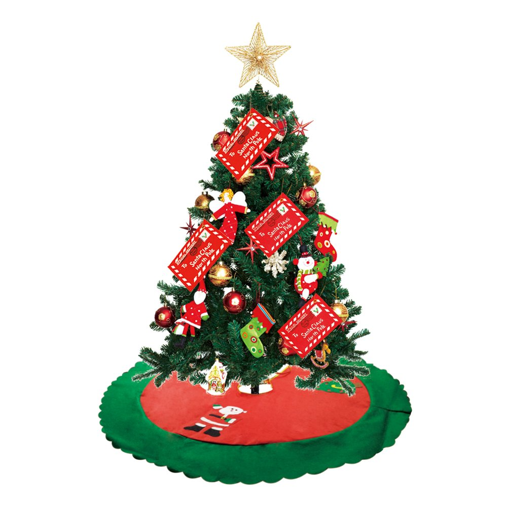 Christmas Xmas Tree Skirt, Plus Red Green Felt Fabric Tree Decor with Gold Trim 36 inches Large Festival Decoration for Merry Christmas Party Christmas Gift Giving & 2 Tree Pendant Ornaments