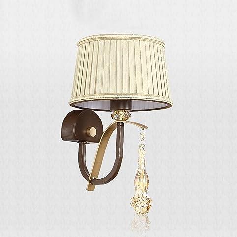 Europäische Kristall LED Wandleuchte Retro Amerikanischen Stil Stoff  Wohnzimmer Esszimmer Flur Einzelkopf Wandleuchte Schlafzimmer  Nachttischlampen