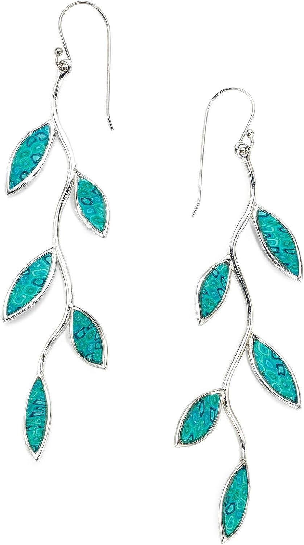 Aretes millefiori - Joya con hojas turquesa en plata de ley - Joyería con arcilla polimérica - Pendientes de fimo con rama de olivo - Regalo de aniversario para mujer