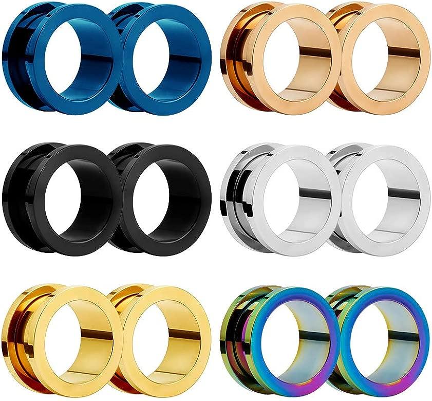 HuaCan 12 Piezas Expansores de Túnel de Oreja Dilatadores Dilatación Ear Plug Piercing Joyas con Borde de Acero Quirurgico Inoxidable Gauge 6-20 mm