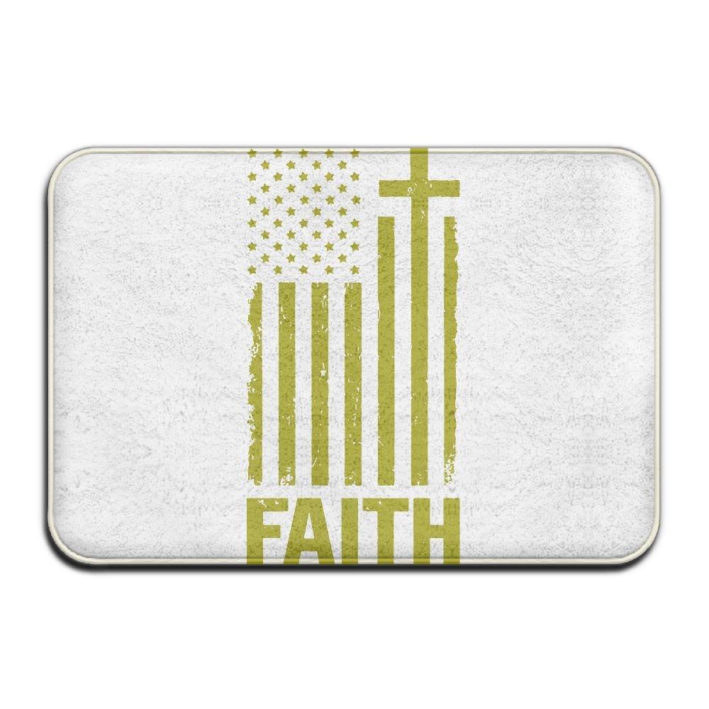 Christian Distressed White USA Flag Bath Rugs Car Floor Mats