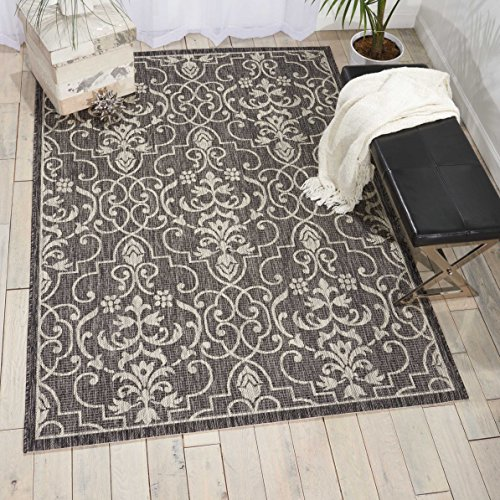 Nourison Garden Party GRD04 Charcoal Indoor/Outdoor Area Rug 5 Feet 3 Inches by 7 Feet 3 Inches, 5'3
