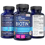 BIOTIN + High Potency Premium Hair, Skin & Nail Boost Formula with Extra Calcium, 5000 mcg - 10000mcg, 60 Easy Swallow Vegetarian Capsules for Healthy Hair, Smooth Skin and Beautiful Nails