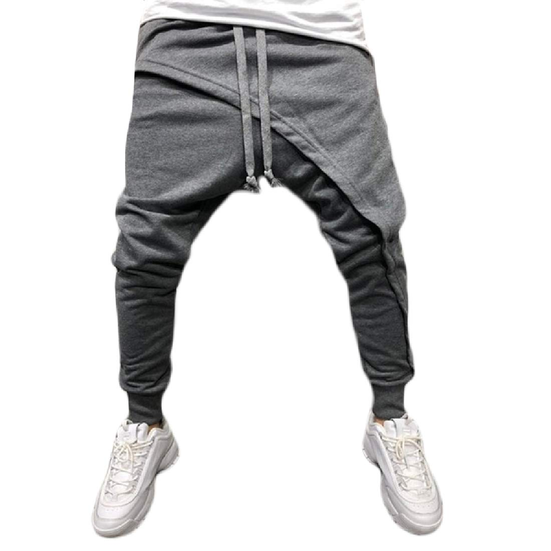 Kankanluck Mens Jogger Layered Hip-Hop Low Rise Casual Running Trousers