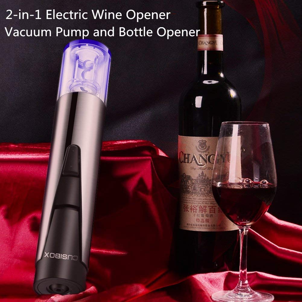Electric Wine Bottle Opener Stainless Steel Cordless Rechargeable with Foil Cutter, Wine Saver Preserver and Recharging Base- Silver