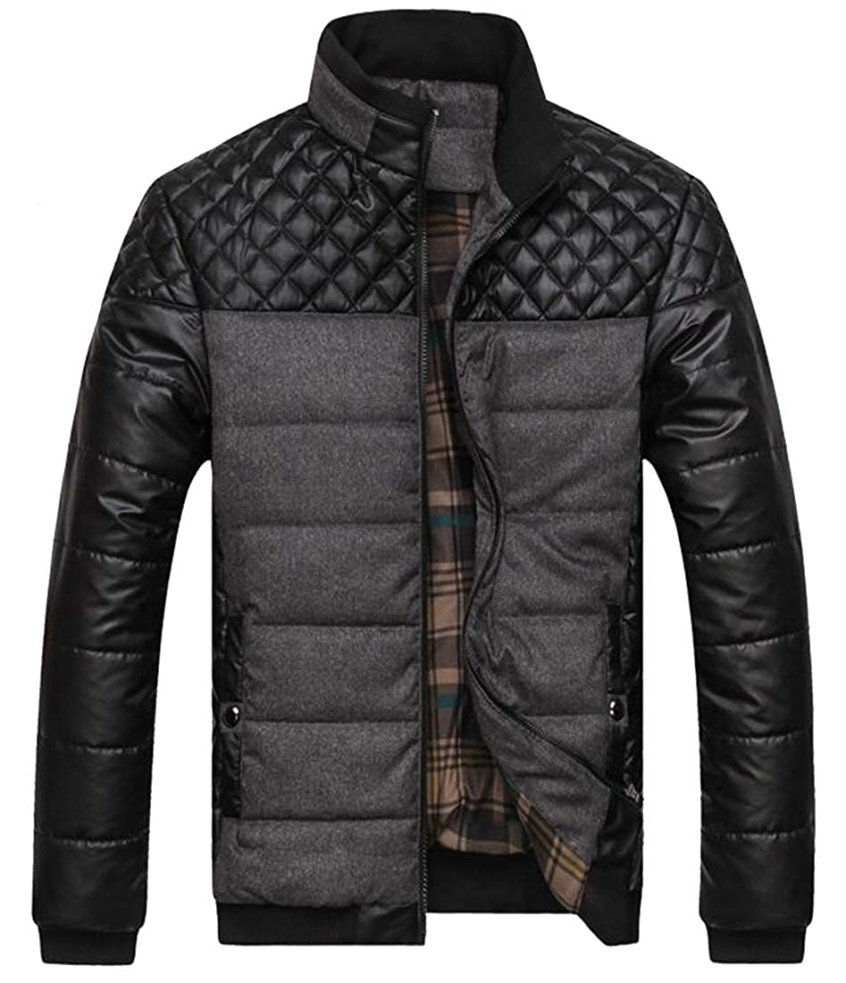 ARTFFEL Mens Faux Leather Plus Size Stitching Stand Collar Fall /& Winter Warm Quilted Jacket Coat Outerwear