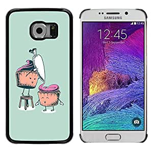 Design for Girls Plastic Cover Case FOR Samsung Galaxy S6 EDGE Funny Cupcakes OBBA