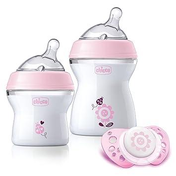 Chicco NaturalFeeling - Set de regalo con 2 biberones para recién nacido + chupete 0 m+, rosa: Amazon.es: Bebé