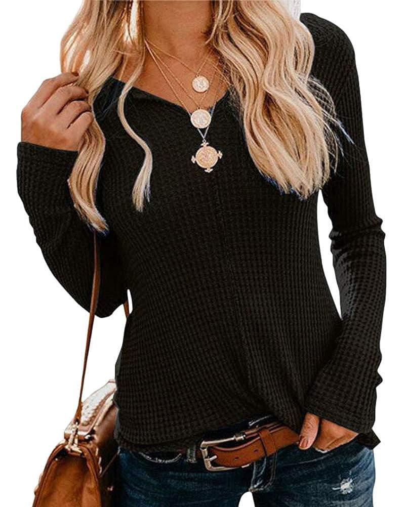 OranDesigne Donna Camicetta Scollo a V Manica Lunga T-Shirt Top Camicetta Confortevole Casa Eleganti Casual Slim Pullover Top