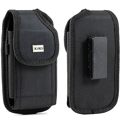 (LG G5, G4, K10, K8 ,K7, LG G Vista D631 VS880, LG G Flex 2 LS996 Black Rugged Heavy Duty Nylon Magnetic Closure Pouch Holster With Swivel Belt Clip ()