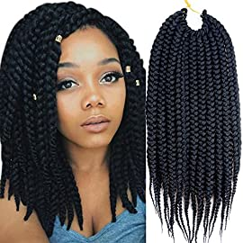 "VRHOT 6Packs 12"" Box Braids Crochet Hair Pre Looped Crochet Braids 3S Soft Synthetic Hair Extensions Hairstyles Braiding Hair Style Dreadlocks for Black Women 12 inch (12 inch, 1B#)"