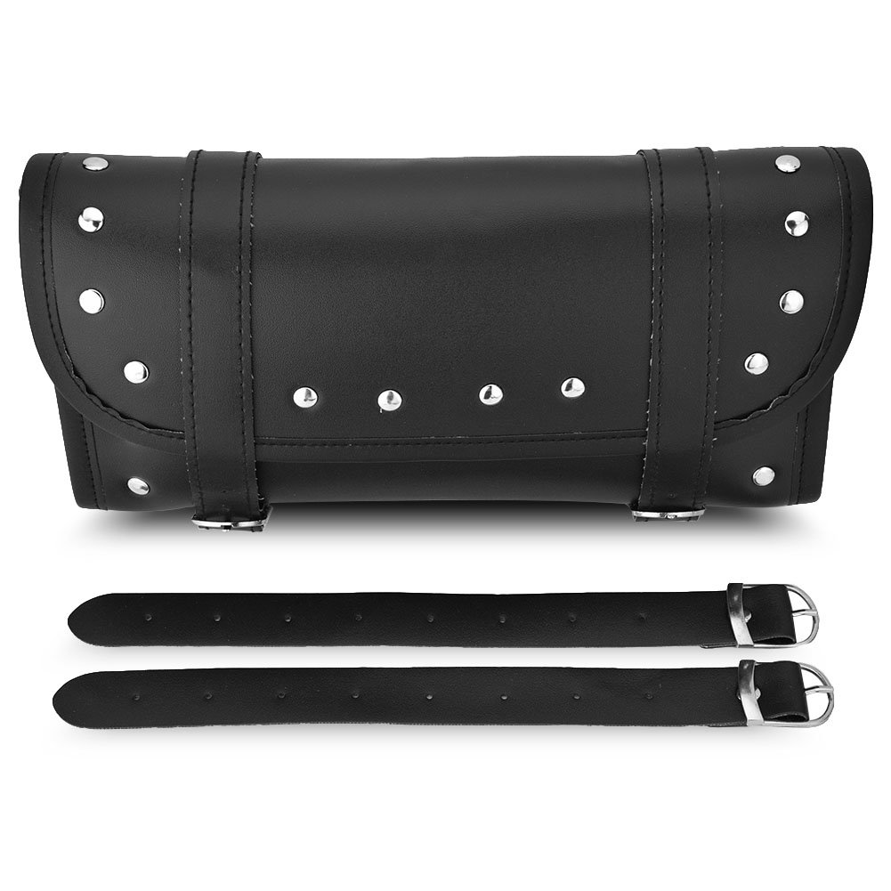 Motorcycle Tool Bag Handlebar Bags PU Leather Front Rear Fork Tool Bag Luggage Storage Tool Pouch 2 Strap Closure, Black Keenso