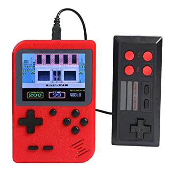 Everpert The Diwali Game Card Accessories Handheld Retro Video Game Console Player+Gamepad Built-in 500 Games (Red)