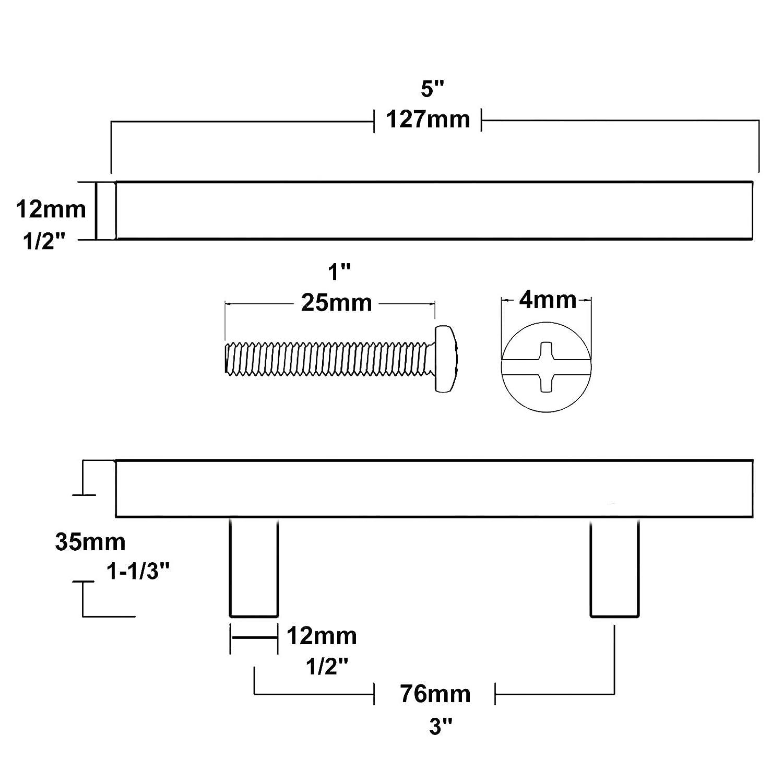 Lot de 20 Probrico Poign/ée de placard de cuisine en acier inoxydable bross/é en laiton pour tiroir de chambre /à coucher Dor/é acier inoxydable Hole Center: 160mm