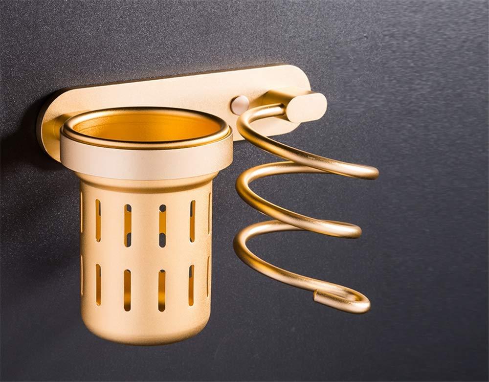 Amgend Support de support de sèche-cheveux monté au mur Support de peigne en spirale givrée pour espace doré en aluminium doré et support de sèche-cheveux Combo
