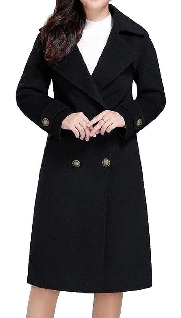 Coolred-Women Top Lapel Long Sleeve Pure Color Belt Woolen Jacket Black 3XL