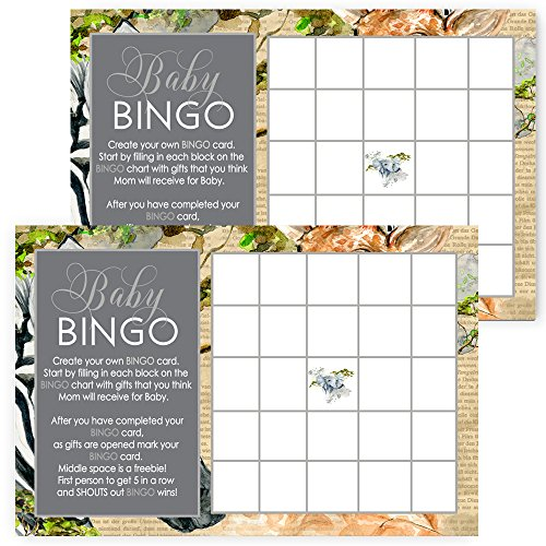 Jungle Baby Shower Bingo Games Set of 25 -