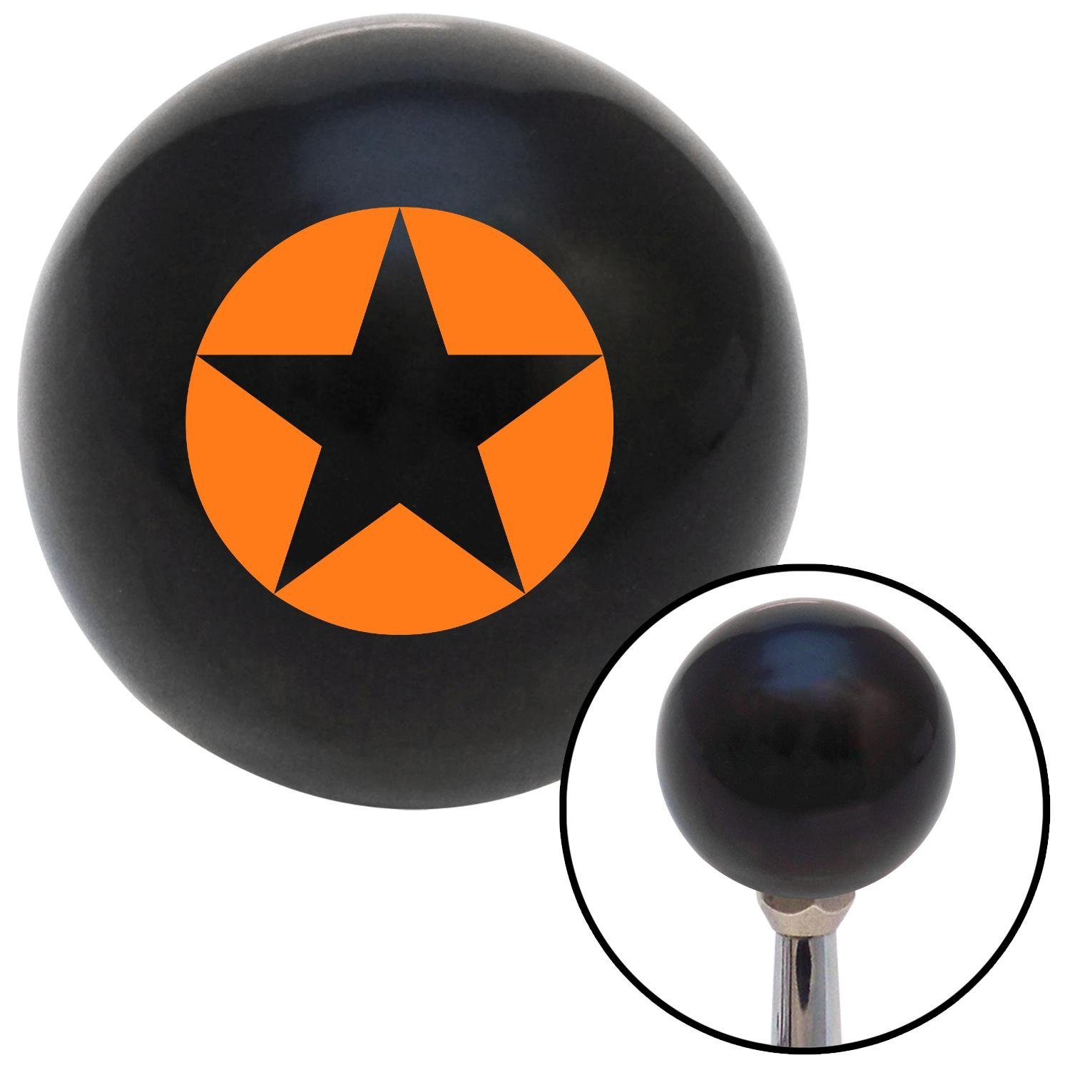 Orange Star in Circle American Shifter 106955 Black Shift Knob with M16 x 1.5 Insert