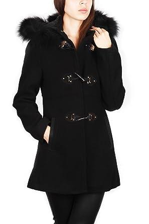 L À Coat Go Capuche Femme Manteau Duffle Mode Fourrure Noir qwBzUpBS